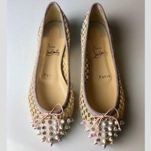 Louboutin Mix Flat Glitter Ballet Flats Euro 36.5